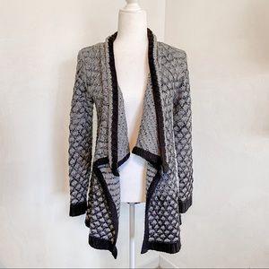 Time & Tru Waterfall Black & Gray Cardigan Sweater
